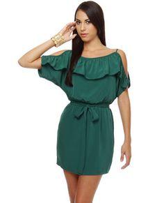 Ruffle Edge Teal Dress....like the ruffles (hides the arms a bit...lol)