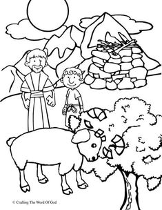 Abraham Offers Isaac (Coloring Page) Coloring pages are a great way to end a Sunday School lesson. They can serve as a great take home activity. Or sometimes you just need to fill in those last fiv...