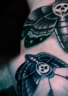 Skull moth tattoo - black & grey/aqua mint, neo-traditional, dot work. By Aleksy Marcinow.