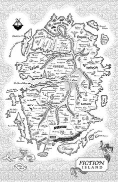Fiction Island from Jaspe Fforde's 'Thursday Next' books. A slightly trippy alternate universe, and a wonderfully entertaining one. I Love Books, Good Books, My Books, Fantasy Fiction, Fantasy Map, Fantasy Literature, Fantasy Books, Thursday Next, Imaginary Maps