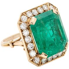 Preowned Colombian Emerald Diamond Ring ($25,000) ❤ liked on Polyvore featuring jewelry, rings, green, green jewelry, emerald ring, round diamond ring, emerald diamond ring and emerald jewelry