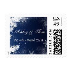 Elegant Navy Blue Branch Snowflake Winter Wedding Postage