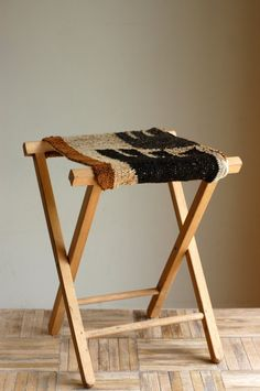 Vintage Rustic Wood Camping Stool with Handwoven Rug by bonnbonn, $48.00