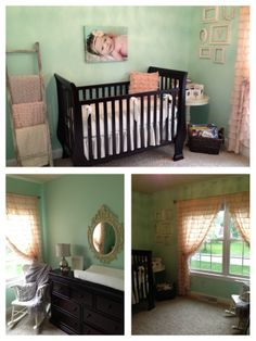mint & pink nursery with deep wooden crib