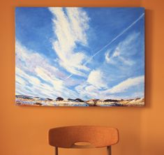Acrylic, 30x40 inches, 2020 January in Vancouver is pretty dreich, but the same cannot be said of the prairies, where even the coldest days are offset by breathtaking sunny skies and endless vistas. This one depicts the view up to the North Rim of the Frenchman River Valley in Saskatchewan, inspired by my time at the Wallace Stegner House Wallace Stegner, Cold Day, No Time For Me, Vancouver, Wolf, January, Sky, River, Inspired