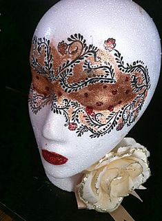 Decorated Styrofoam Head | painted baroque style styrofoam head