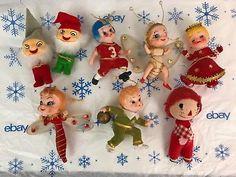 Vintage-Felt-Christmas-Ornaments-Lot-Of-8-Collectibles