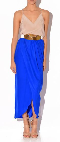 gorgeous blue petal maxi skirt