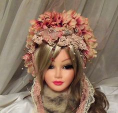 Pink Petal Headpiece, Flower Bridal Hat, OOAK Haute Couture bejeweled flower head piece, Victorian wedding.