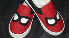Childrens hand painted spiderman shoes