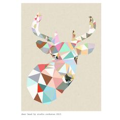 Chamomile and Peppermint Blog - Modern Geometric Art by Studio Cockatoo - Deer Head 2013