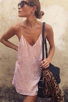 Simple Spaghetti Straps Deep V-neck Loose Short Dress
