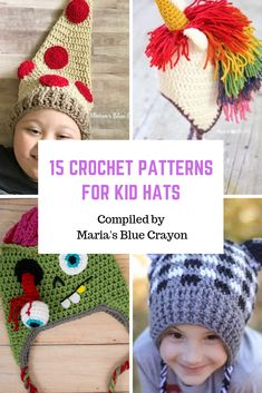 Best Fun Winter Crochet Hats for Kids - Free Patterns - Maria's Blue Crayon. Cute crochet kid hats with free patterns! These hats are so fun for kids and many come with multiple sizing! Crochet Dinosaur Hat, Crochet Unicorn Hat, Crochet Shark, Crochet Animal Hats, Crochet Deer, Cute Crochet, Vintage Crochet, Knit Crochet, Bonnet Crochet