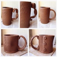 Mug with knitted texture.