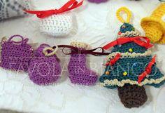 Christmas gifts - borsette, scarponcino e alberello all'uncinetto da appendere fatti a mano
