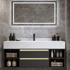 Floating Bathroom Vanities, Bathroom Vanity Designs, Bathroom Vanity Cabinets, Floating Vanity, Mirrored Vanity, Bathroom Ideas, Single Sink Bathroom Vanity, Vanity Sink, Modern Bathroom Sink