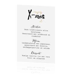 Kerst menukaart met x-mas spreuk - handlettering