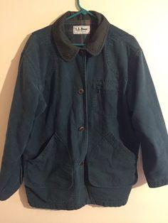 LL Bean Canvas Twill Chore Jacket Flannel Plaid Liner Barn Field Coat Mens L #LLBean #BasicCoat
