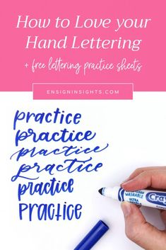 How to Love your Hand Lettering and practice with confidence. In this post I share 5 tips to feel confident in your lettering right now and free lettering practice worksheets to get you started. Brush Lettering Worksheet, Hand Lettering Practice, Hand Lettering For Beginners, Hand Lettering Tutorial, Creative Lettering, Lettering Styles, Lettering Ideas, Graffiti Lettering, Typography