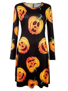 $7.61 Pumpkin Print Long Sleeve Halloween Dress