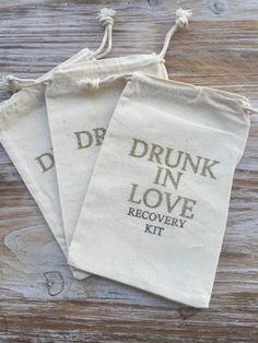 8 Gold Drunk in love 5x7 Hangover kits, recovery kit, bachelorette survival kit, bachelorette party favor, girls night out