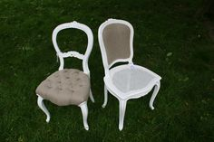 linen and white and burlap trove decor chairs....I hope these two stayed together!