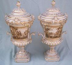 Meissen Artisan Dresden Porcelain Carl Thieme Pair Lidded Sepia Urns Vases