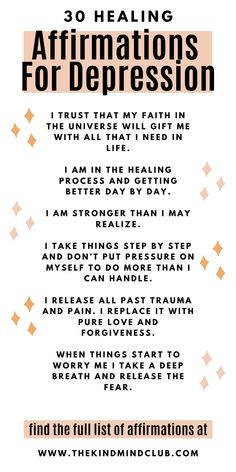 Healing affirmations for depression. Promote a positive mindset through the power of affirmative words. Find the daily mantra that is just right for you. Healing Affirmations, Daily Positive Affirmations, Positive Affirmations Quotes, Affirmation Quotes, Positive Quotes, Positive Mindset, Affirmations For Anxiety, Mental And Emotional Health, Mental Health Quotes