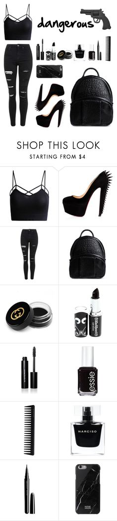 """""""Dangerous"""" by eaton05 ❤ liked on Polyvore featuring Topshop, Alexander Wang, Gucci, Bobbi Brown Cosmetics, Essie, GHD, Narciso Rodriguez, Marc Jacobs, Native Union and women's clothing"""