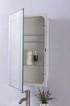 Complete your bathroom with a Medicine cabinet that not only provides a classic mirror but plenty of storage space with its adjustable glass shelves. This cabinet also offers the convenience of being