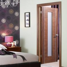 the Alcaraz walnut flush veneer door with a distinctive and decorative vertical inlaid aluminium strip which just adds that final touch. Walnut Doors, Veneer Door, Contemporary Doors, Door Sets, Safety Glass, Internal Doors, Home Lighting, Door Design, French Doors