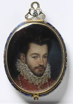 French king (1551-1589) Henri III. Portrait miniature.