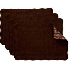 Better Homes and Gardens Reversible Quilted Placemats, Set of 4, Brown