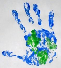 i love that we can do handprinting in kindergarten! -- earth day!