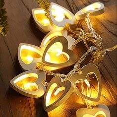Love And Light, Light Up, Battery Operated Lamps, Garden Birthday, Wooden Textures, Led String Lights, Light String, Wooden Hearts, Fairy Lights
