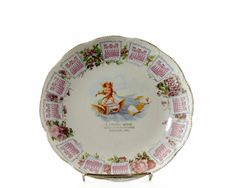 Antique Calendar Plate 1910 Advertising Cupid by GizmoandHooHa