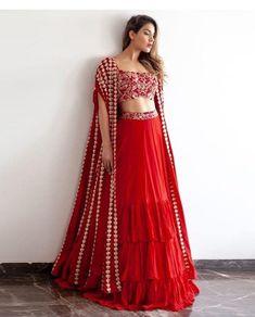 Buy Ivory embroidered lehenga set by Monika Nidhii at Aza Fashions Half Saree Designs, Choli Designs, Lehenga Designs, Indian Wedding Outfits, Bridal Outfits, Indian Outfits, Indian Designer Outfits, Designer Dresses, Stylish Dresses