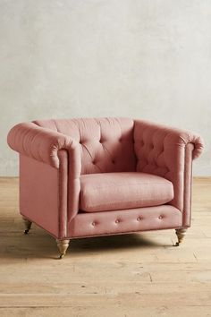 Linen Lyre Chesterfield Armchair, Wilcox - #anthrofave