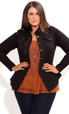 City Chic - COOL UTILITY JACKET - Women's plus size fashion [ HGNJShoppingMall.com ] #plussizeclothing