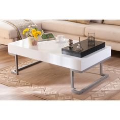 Furniture of America Cassie Coffee Table in Glossy White Finish with Serving Tray   overstock.com   $165
