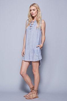 Lace up tank dress