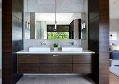Doubles vasques et tiroirs de rangement en bois exotique