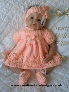 Crochet Dolls Designs Baby Dolls Knitting Pattern Dress Set For Doll Month Baby Crochet Baby Dress Pattern, Knit Baby Dress, Baby Dress Patterns, Doll Clothes Patterns, Baby Knitting Patterns, Free Knitting, Pattern Dress, Free Crochet, Double Knitting