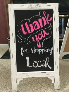 Local Boutique Chalkboard - Chalk Art İdeas in 2019 Farmers Market Display, Market Displays, Shop Window Displays, Store Displays, Sandwich Board Signs, Sidewalk Signs, Open Signs, Closed Signs, Retail Signs
