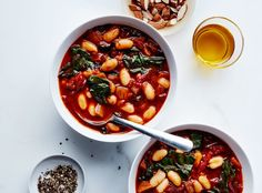 You can swap other greens, like spinach, for the chard in this bean soup recipe. It tastes even better after being chilled for a day or two.