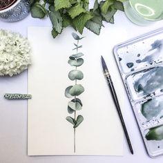 Art print from my original watercolor. Plant Painting, Plant Drawing, Watercolor Plants, Watercolor Paintings, Watercolors, Gouache, Feuille Eucalyptus, Garden Gifts, Line Art