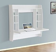 HOMCOM Wall Mounted Floating Table Computer Desk with Storage Home Office Bedroom Furniture White