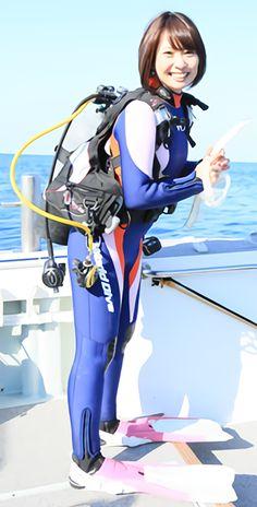 Asian girl in wetsuit