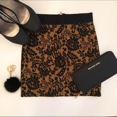 New Arrival - Yellow and black lace skirt Discounted Bundles ▪️Please use the offer feature  ▪️Ships within 24 hours ✈️ ▪️No tradesNo Paypal ▪️ Love the item but not the price?  Make an offer!  ▪️Questions?  Don't be shy!  Feel free to ask  ▪️Condition - NWT ▪️Size - 2 ▪️Material - Polyester / Polyamide ▪️Description - Stretchy lace skirt with elastic waistband and zipper back closure.  Measures about 14.5 inches from waistband to hemline. H&M Skirts Mini