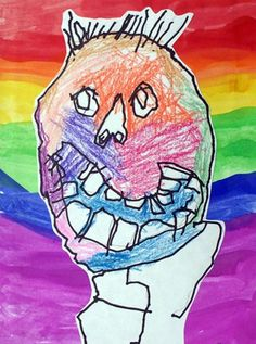 Sidney's self portrait is from the beginning of his kindergarten year. The students use of line gives me and uneasy feeling which is interestingly in contrast with the bright rainbow background. The crooked smile works against the idea of child art being happy and light hearted. I love contrast!